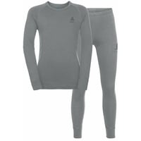 Completo Base Layer NATURAL 100% MERINO WARM per bambini, grey melange - grey melange, large