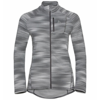 Women's FLI LIGHT PRINT Full-Zip Midlayer, odlo silver grey - graphic SS21, large