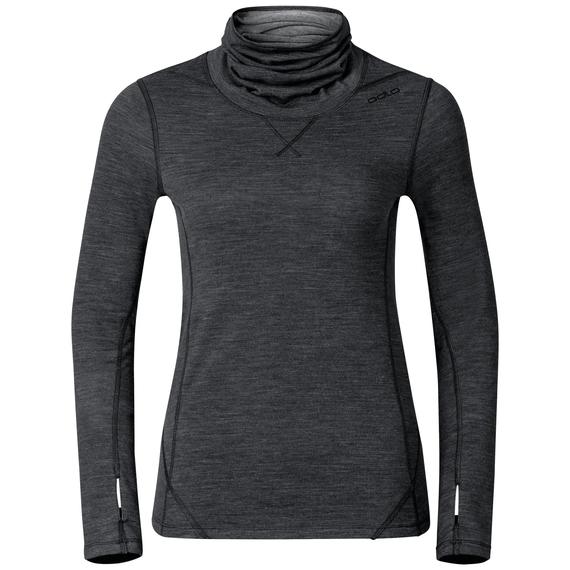 REVOLUTION WARM Baselayer Shirt turtleneck, black melange, large