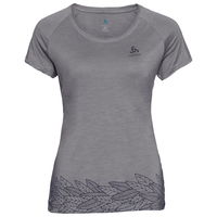 Women's CONCORD T-Shirt, grey melange - leaves on waist print SS19, large