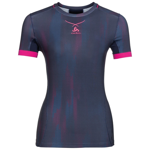Ceramicool pro baselayer shirt with print women, peacoat - pink glo, large
