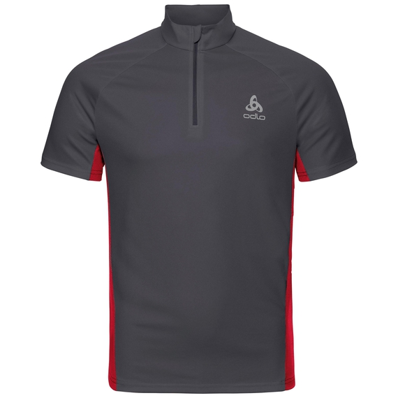Stand-up collar s/s 1/2 zip CHIP LO, ebony grey - formula one, large