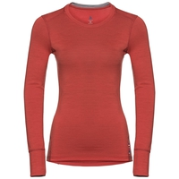 Women's NATURAL 100% MERINO WARM Long-Sleeve Base Layer Top, baked apple - grey melange, large