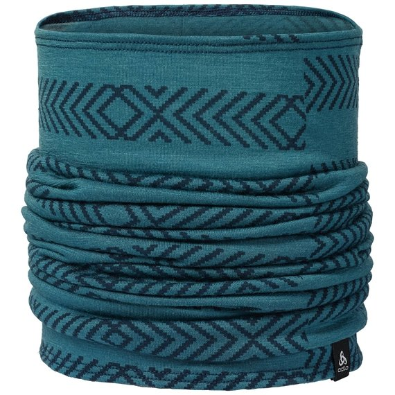 NATURAL 100% MERINO WARM-colsjaal, blue coral - AOP FW18, large