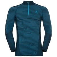 Men's BLACKCOMB 1/2 Zip Turtle-Neck Long-Sleeve Base Layer Top, poseidon - blue jewel - atomic blue, large