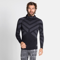 Herren NATURAL + KINSHIP WARM Baselayer-Oberteil mit Kapuze, black melange, large