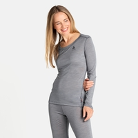 NATURAL + LIGHT-basislaagtop met lange mouwen voor dames, grey melange, large