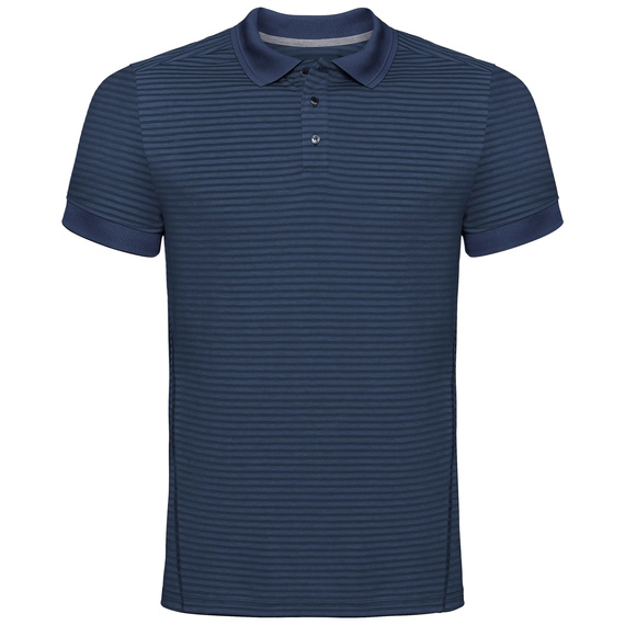 Polo NIKKO DRY, diving navy - ensign blue stripes, large