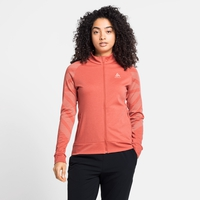Felpa midlayer con zip intera CONCORD PRINT da donna, burnt sienna melange - graphic SS21, large