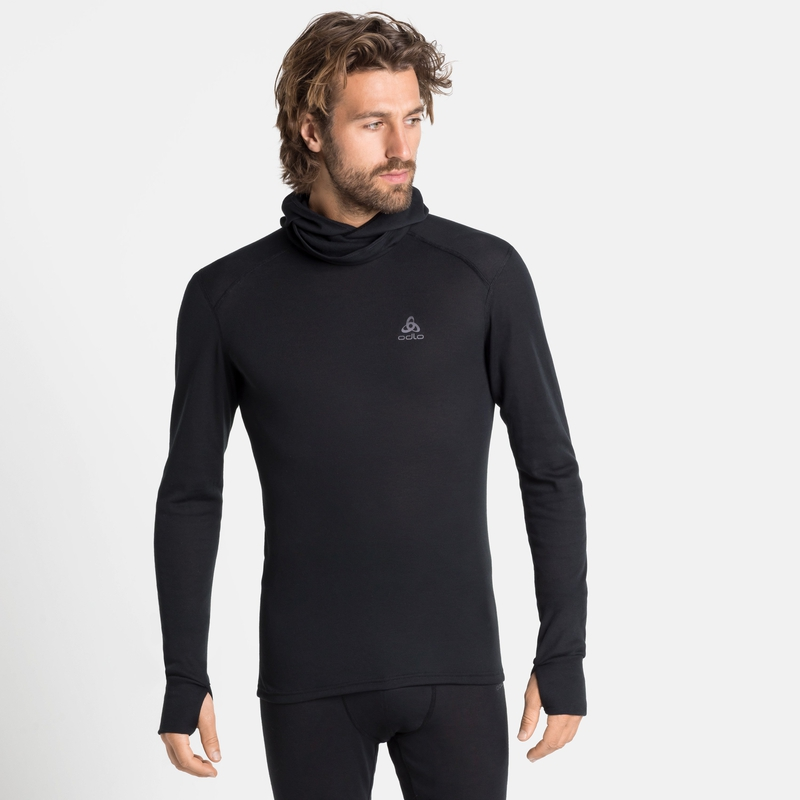 Herren ACTIVE WARM ECO Base Layer Oberteil mit Gesichtsschutz, black, large