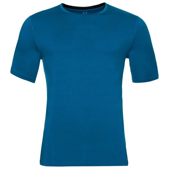 Natural 100 Merino Warm baselayer shirt short sleeve men, mykonos blue - black, large