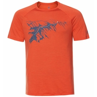 CONCORD-T-shirt voor heren, mandarin red - mountain print SS20, large