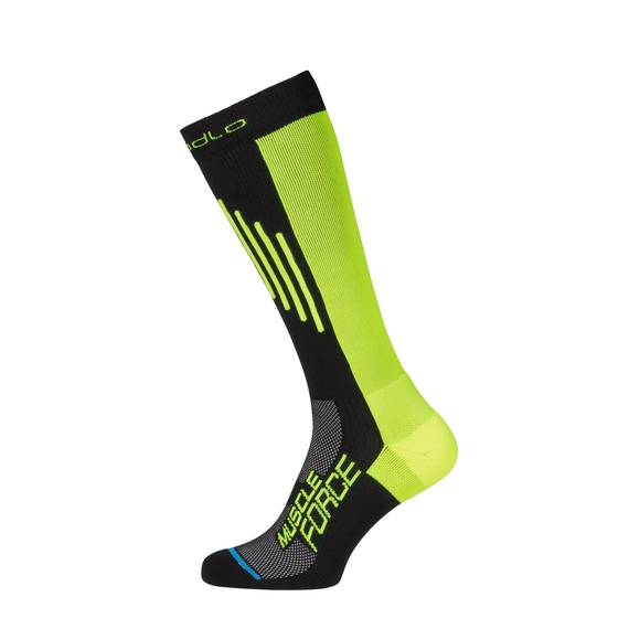 Socks extra long MUSCLEFORCE Light, black - safety yellow, large