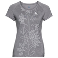 Women's CONCORD T-Shirt, grey melange - flower leaf print SS19, large