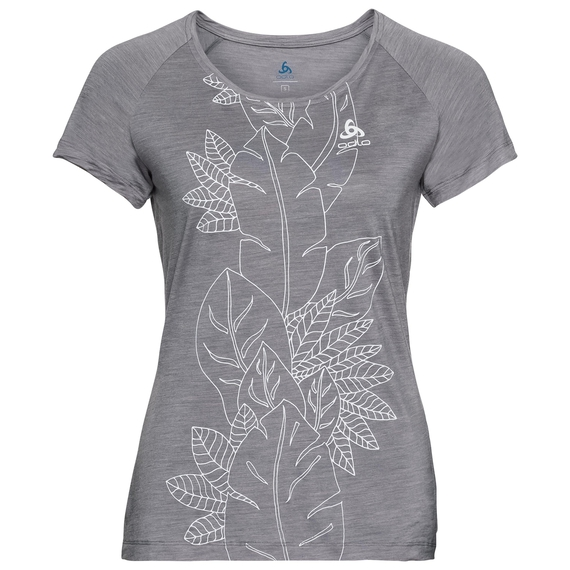 Damen CONCORD T-Shirt, grey melange - flower leaf print SS19, large