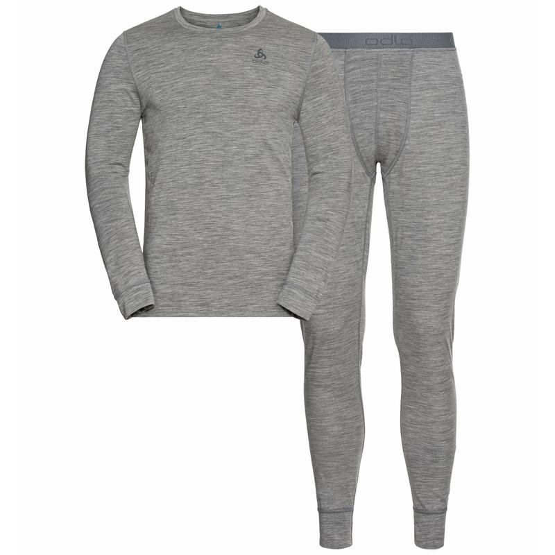 Men's NATURAL 100% MERINO WARM Base Layer Set, grey melange - grey melange, large
