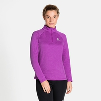 Top midlayer con mezza zip PROITA da donna, purple cactus flower melange, large
