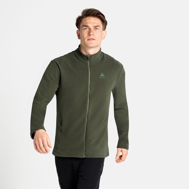 Men's ROY Full-Zip Mid Layer Top, deep depths - olivine - stripes, large