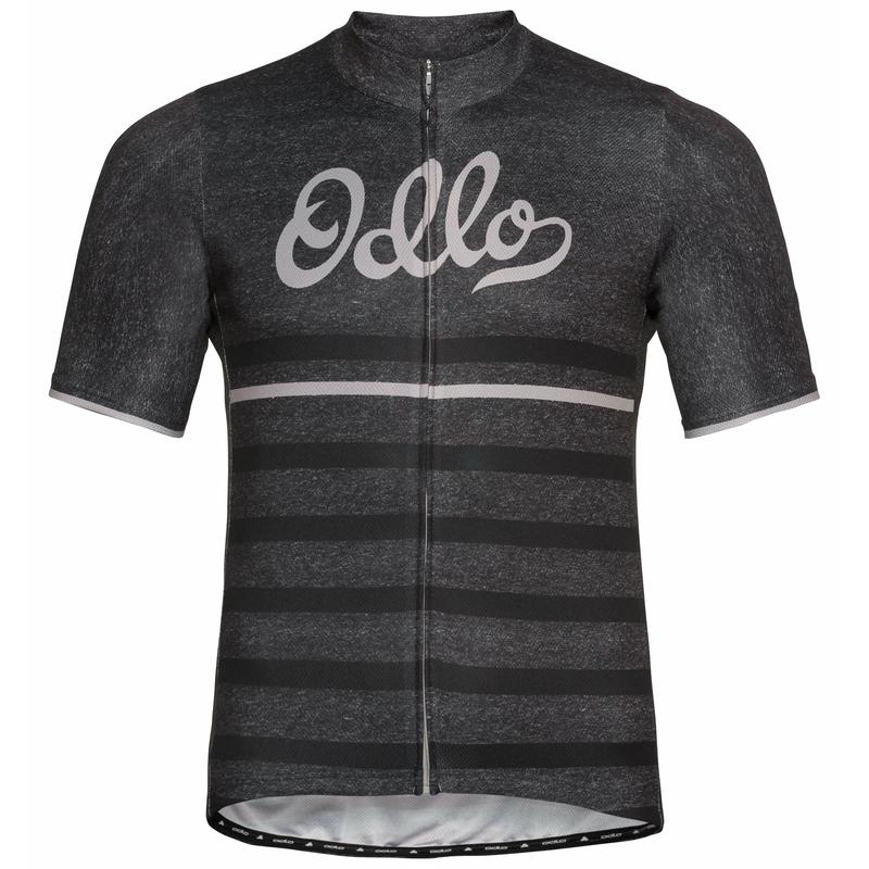 Men's ELEMENT PRINT Short-Sleeve Cycling Jersey, odlo graphite grey melange - retro, large