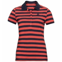 Women's CONCORD Polo shirt, hot coral - diving navy - stripes, large