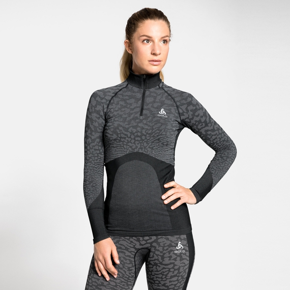 Maglia Base Layer a collo alto con 1/2 zip a manica lunga BLACKCOMB da donna, black - odlo steel grey - silver, large