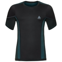 Shirt s/s crew neck PERFORMANCE Windshield XC-Skiing LIGHT, black - lake blue, large