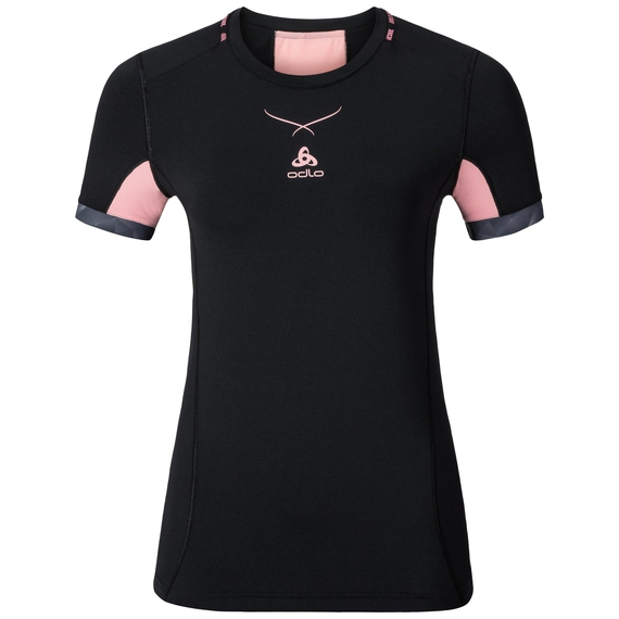 Ceramicool pro baselayer shirt women, black - fleur de lotus, large
