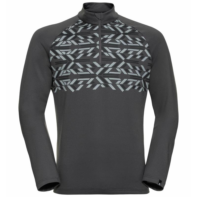 Men's PAZOLA RIBBON Half-Zip Mid Layer Top, odlo graphite grey - graphic FW20, large
