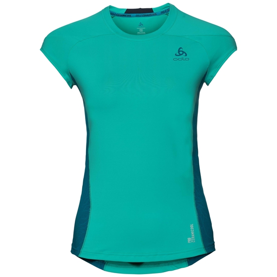 BL Top CERAMCOOL PRO kurzärmeliges Oberteil mit Rundhalsausschnitt, pool green - crystal teal, large