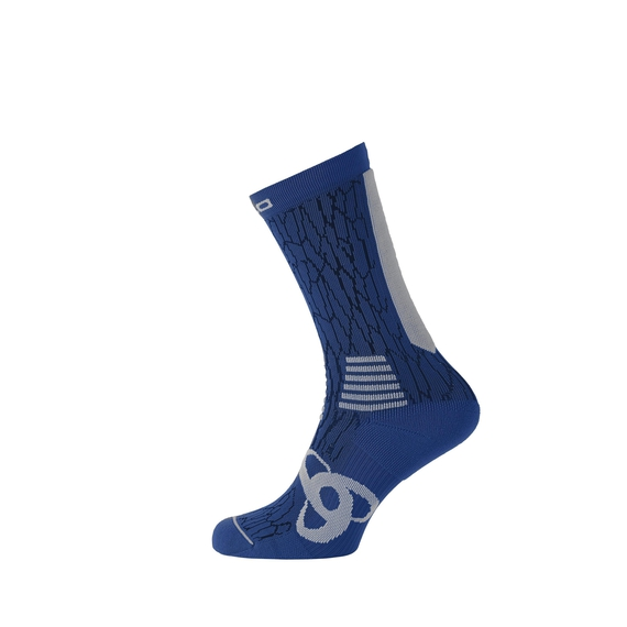 Socks long CERAMICOOL Light, sodalite blue - odlo concrete grey, large