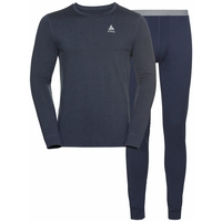 Herren NATURAL 100% MERINO WARM Baselayer-Set, diving navy - diving navy, large