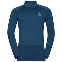 QUAGG seamless running pullover half-zip, blue opal - peacoat, large
