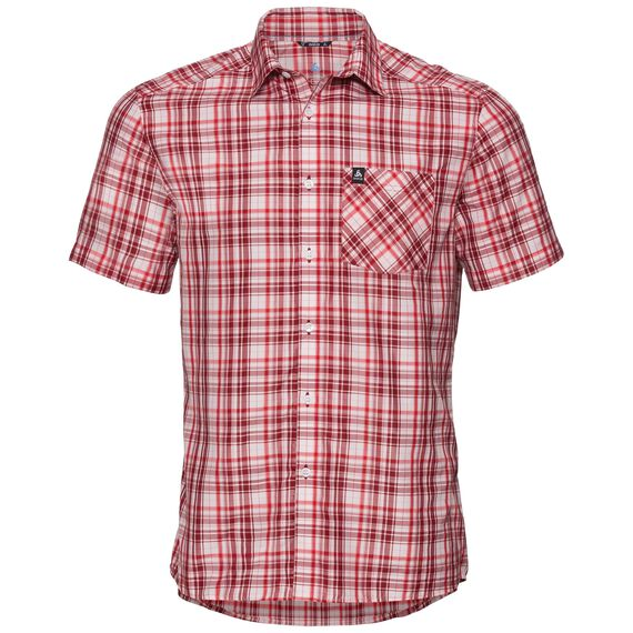 Shirt s/s MYTHEN, white - red dahlia - chinese red - check, large