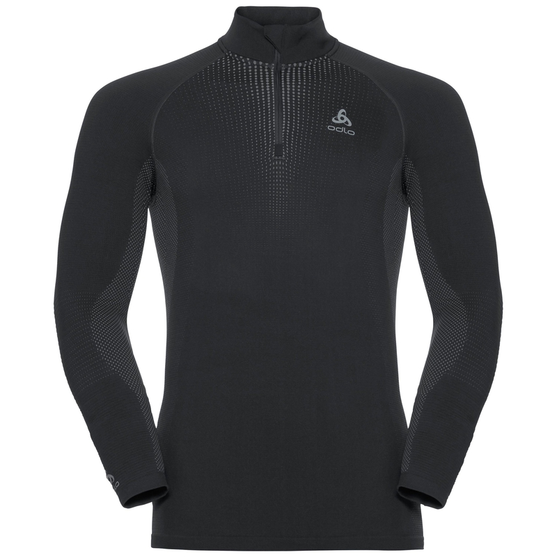 Men's PERFORMANCE WARM 1/2 Zip Turtle-Neck Long-Sleeve Base Layer Top, black - odlo concrete grey, large