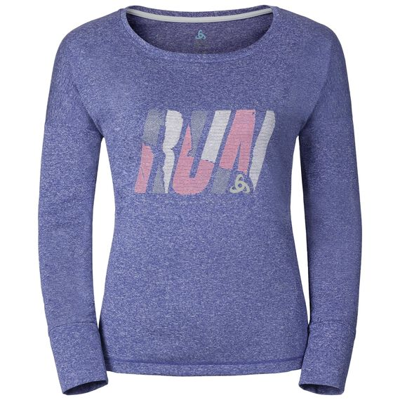 TEBE running T-shirt longsleeve women, spectrum blue melange - placed print SS17, large