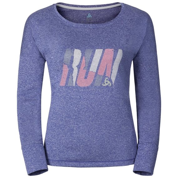 TEBE running T-shirt longsleeve women, spectrum blue melange - placed print SS17, large