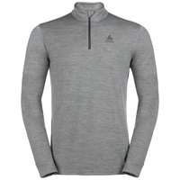 Men's NATURAL 100% MERINO WARM 1/2 Zip Turtle-Neck Base Layer Top, grey melange - grey melange, large