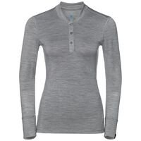 Natural 100 Merino Warm baselayer shirt stand-up collar women, grey melange - grey melange, large