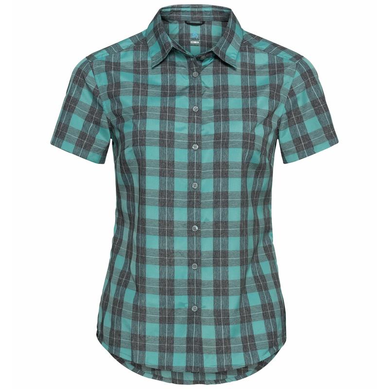 Women's MYTHEN Short-Sleeve Blouse, jaded - grey melange, large