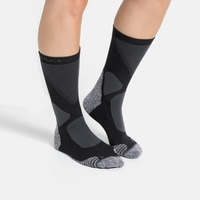 Halfhoge uniseks ACTIVE WARM XC-sokken, black - odlo graphite grey, large