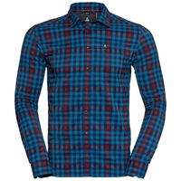 FAIRVIEW Shirt longsleeve men, mykonos blue - red dahlia - peacoat - check, large