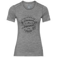 T-shirt ALLIANCE pour femme, grey melange - pine cone print FW18, large