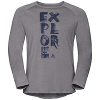 Men's CONCORD Long-Sleeve T-Shirt, grey melange - explore print SS19, large