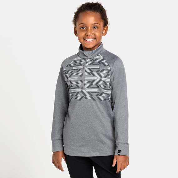Top midlayer con mezza zip PAZOLA RIBBON per bambini, grey melange - graphic FW20, large