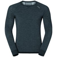 Shirt l/s crew neck NATURAL + X-WARM, black melange, large