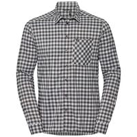 Shirt l/m NIKKO CHECK, odlo silver grey - odlo steel grey - snow white - check, large