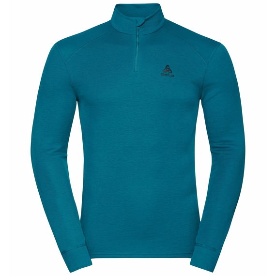 Men's ACTIVE WARM ECO Half-Zip Turtleneck Baselayer Top, tumultuous sea, large