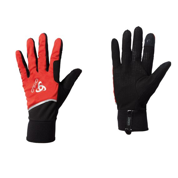 Gloves WINDPROOF Light, fiery red - black, large