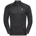 Midlayer zip intera Fli, black - odlo graphite grey - stripes, large