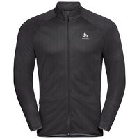 FLI Midlayer, black - odlo graphite grey - stripes, large